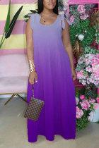 purple Fashion Bohemian Gradual Change Print Bandage Spaghetti Strap Swagger Dresses