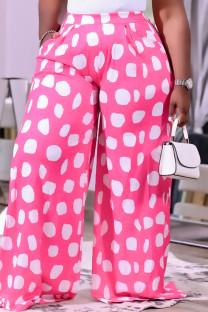 Deep Pink Fashion Casual Print Basic Regular High Waist Wide Leg Trousers