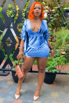 Light Blue Chemical fiber blend Fashion adult Sexy Cap Sleeve Half Sleeves V Neck Step Skirt ruffle Patchwork P