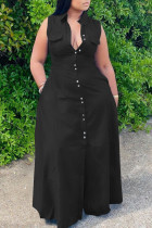 Black Casual Solid Split Joint Pocket Turndown Collar A Line Plus Size Dresses