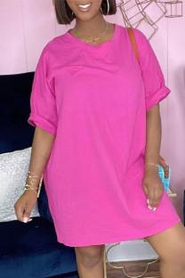 Pink Fashion Casual Solid Basic O Neck Short Sleeve Dresses
