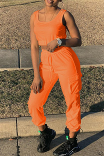 Orange Fashion Casual Solid Vests Pants U Neck Sleeveless Two Pieces