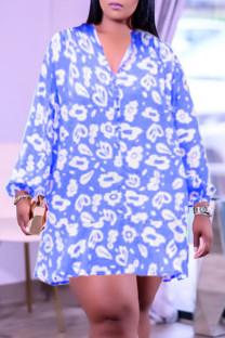 Blue Fashion Casual Print Basic V Neck Long Sleeve Plus Size Dresses