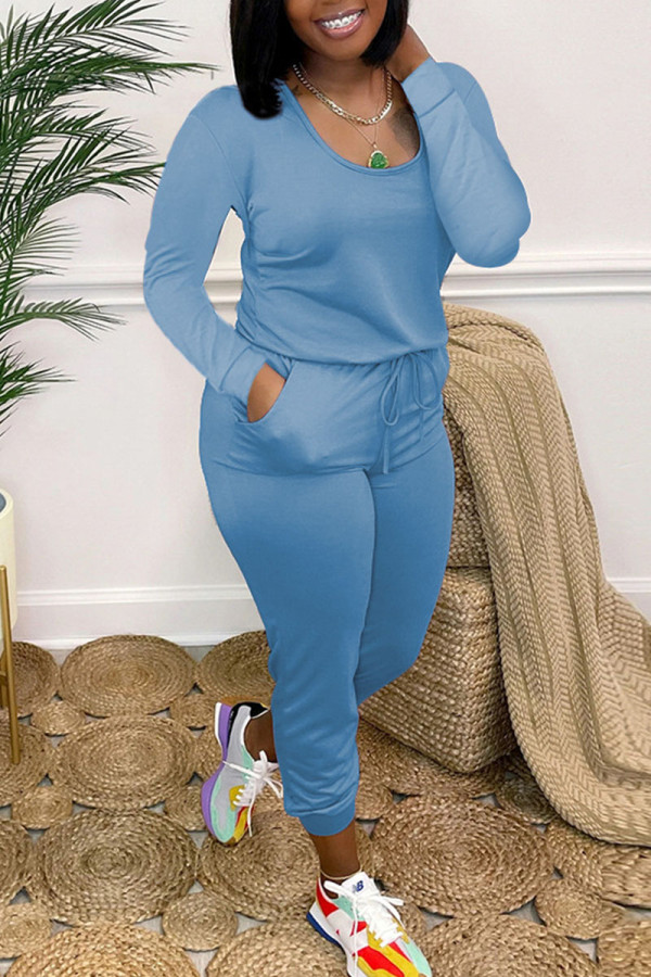 Blue Casual Solid Split Joint O Neck Skinny Jumpsuits