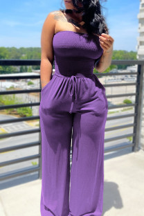 Purple Sexy Casual Solid Backless Strapless Regular Jumpsuits