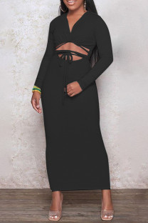 Black Fashion Casual Solid Leopard Bandage Hollowed Out V Neck Long Sleeve Dresses