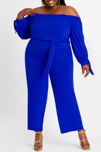 Blue Fashion Casual Solid Backless Off the Shoulder Plus Size Jumpsuits