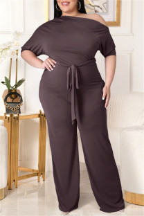 Dark Brown Fashion Casual Solid Backless With Belt Oblique Collar Plus Size Jumpsuits