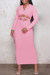 Pink Fashion Casual Solid Leopard Bandage Hollowed Out V Neck Long Sleeve Dresses