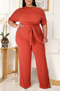 Orange Fashion Casual Solid Backless With Belt Oblique Collar Plus Size Jumpsuits