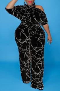 Black Fashion Casual Print Bandage Oblique Collar Plus Size Jumpsuits
