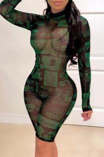 Green Fashion Sexy See-through Half A Turtleneck Skinny Romper