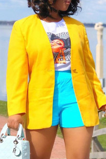 Yellow Fashion Casual Solid Cardigan Outerwear