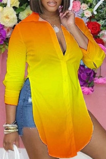 Yellow Casual Print Split Joint Slit Turndown Collar Tops