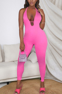 Pink Sexy Casual Solid Backless Halter Skinny Jumpsuits