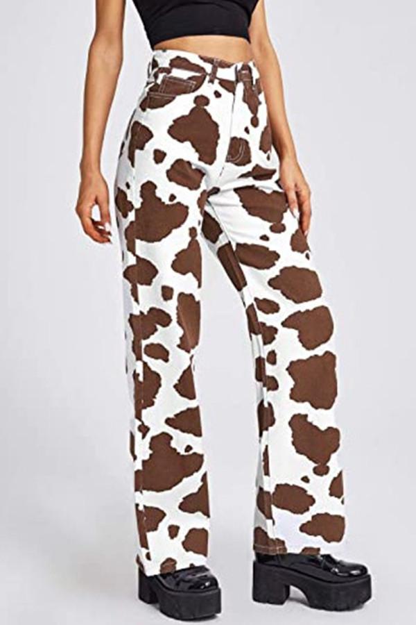 Brown Casual Print Split Joint High Waist Straight Denim Jeans
