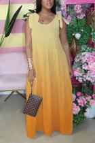 Yellow Fashion Bohemian Gradual Change Print Bandage Spaghetti Strap Swagger Dresses
