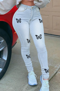 Light Blue Fashion Casual Butterfly Print Basic High Waist Regular Jeans