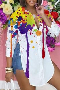 Multi-color Casual Print Split Joint Slit Turndown Collar Tops