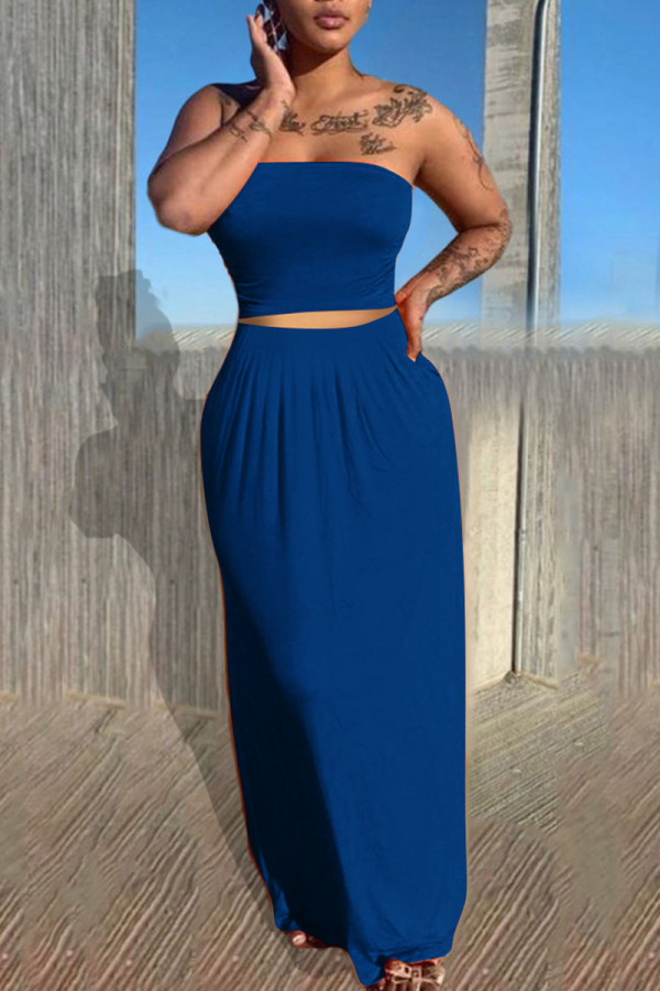 Blue Casual Solid Split Joint Strapless Sleeveless Two Pieces