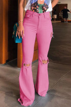 Pink Denim Zipper Fly Button Fly Mid Hole Patchwork Boot Cut Pants