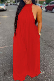Red Sexy Casual Solid Backless Turtleneck Regular Jumpsuits