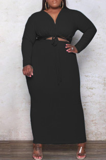 Black Fashion Casual Plus Size Solid Bandage Hollowed Out V Neck Long Sleeve Dresses