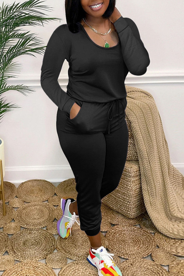 Black Casual Solid Split Joint O Neck Skinny Jumpsuits
