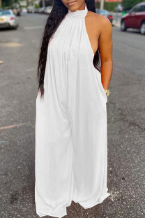White Sexy Casual Solid Backless Turtleneck Regular Jumpsuits