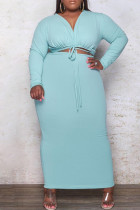Light Blue Fashion Casual Plus Size Solid Bandage Hollowed Out V Neck Long Sleeve Dresses