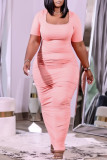Pink Fashion Casual Plus Size Solid Fold Square Collar Short Sleeve Dress