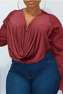 Burgundy Casual Solid Mesh O Neck Plus Size Tops