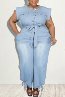 Baby Blue Fashion Casual Solid With Belt O Neck Plus Size Jumpsuits