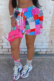 Pink Fashion Casual Print Basic Plus Size Shorts