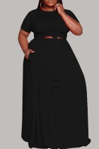Black Fashion Casual Plus Size Solid Hollowed Out O Neck Short Sleeve Dress