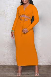 Orange Fashion Casual Solid Leopard Bandage Hollowed Out V Neck Long Sleeve Dresses