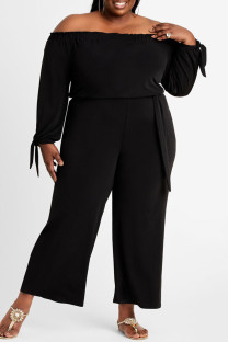 Black Fashion Casual Solid Backless Off the Shoulder Plus Size Jumpsuits