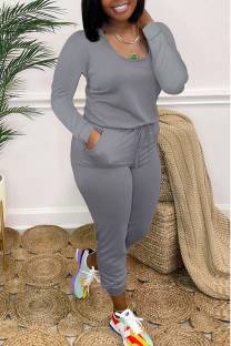 Grey Casual Solid Split Joint O Neck Skinny Jumpsuits