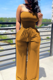 Orange Yellow Sexy Casual Solid Backless Strapless Regular Jumpsuits
