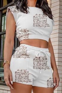 White Casual Print Split Joint O Neck Sleeveless Two Pieces