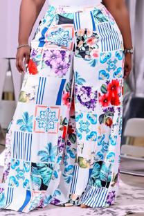 Blue Fashion Casual Print Basic Regular High Waist Wide Leg Trousers