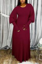Wine Red OL Long Sleeves O neck Lantern skirt Ankle-Length Solid Dresses
