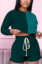 Dark green Fashion adult Ma'am OL contrast color Two Piece Suits Straight Long Sleeve Two Pieces