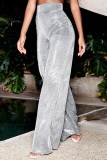Silver Casual Patchwork Sequins Straight High Waist Wide Leg Solid Color Bottoms