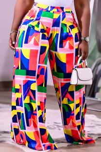 Multicolor Fashion Casual Print Basic Regular High Waist Wide Leg Trousers