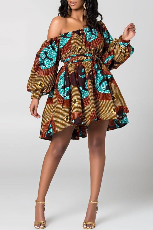 Brown Sexy Print Split Joint One Shoulder Cake Skirt Dresses