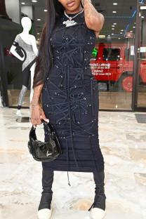 Black Fashion Solid Split Joint Frenulum Half A Turtleneck Straight Dresses