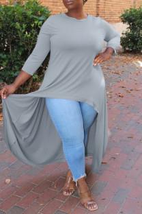 Grey Fashion Casual Solid Asymmetrical O Neck Plus Size Tops