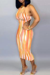 Orange Fashion Sexy Striped Print Backless O Neck Sling Dress
