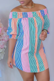 Pink Green Casual Striped Split Joint Off the Shoulder Straight Dresses